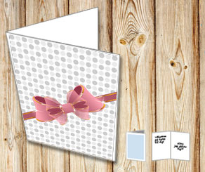 White card with grey dots and a bow  | Free printable card