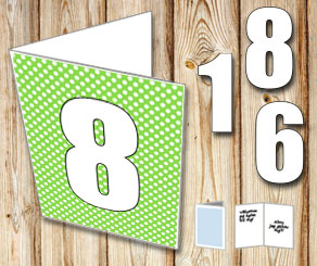 Green card with white dots and numbers   | Free printable card