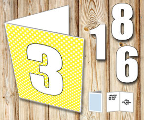Yellow card with white dots and numbers   | Free printable card