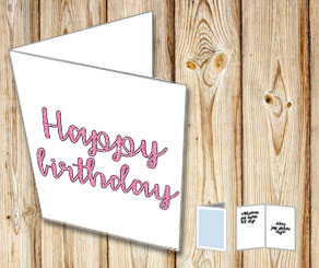Happy birthday (pink)  | Free printable card