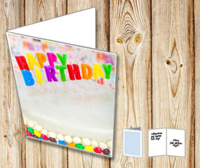 Happy birthday card with Happy Birthday cake  | Free printable card