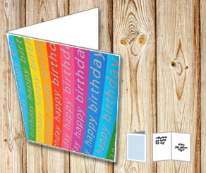 Happy Birthday card with Happy Birthday in rainbow ...  | Free printable card