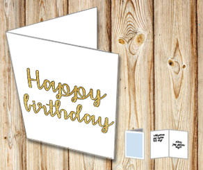 Happy birthday (gold)  | Free printable card