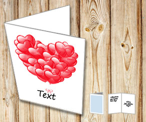 White card with red heart shaped balloons 2  | Free printable for Valentines day