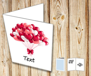 White card with red and white heart shaped balloons 2  | Free printable for Valentines day