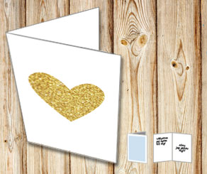 Card with a heart in gold  | Free printable for Valentines day