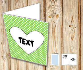 Green card with white dots and a heart  | Free printable for Valentines day