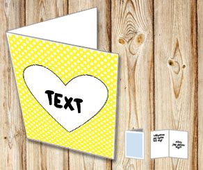 Yellow card with white dots and a heart  | Free printable for Valentines day