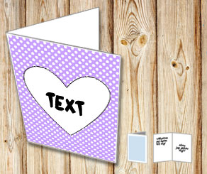 Light purple card with white dots and a heart  | Free printable for Valentines day