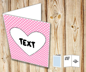 Light pink card with white dots and a heart  | Free printable for Valentines day