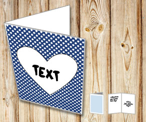 Dark blue card with white dots and a heart  | Free printable for Valentines day