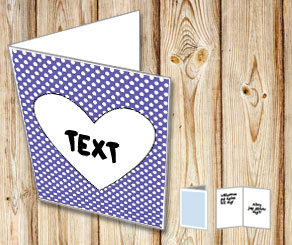 Dark purple card with white dots and a heart  | Free printable for Valentines day