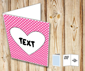 Pink card with white dots and a heart  | Free printable for Valentines day