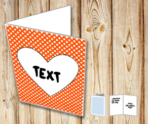 Orange card with white dots and a heart  | Free printable for Valentines day