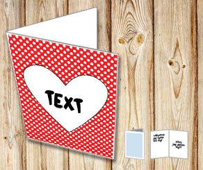 Red card with white dots and a heart  | Free printable for Valentines day