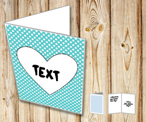 Turquoise card with white dots and a heart  | Free printable for Valentines day