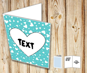 Turquoise card with hearts  | Free printable for Valentines day
