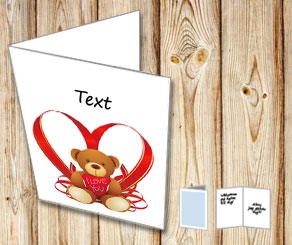 Card with a I Love You teddy bear and your text  | Free printable card