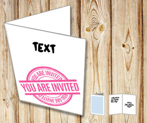Invitation card: You are invited with text (pink)