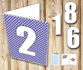 Purple card with white dots and numbers   | Free printable card