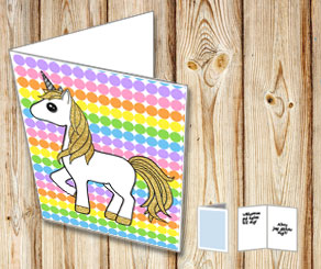 Dotted card with light rainbow colors and a unicorn 3  | Free printable card