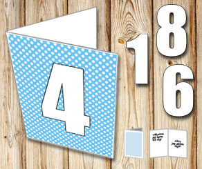 Light blue card with white dots and numbers   | Free printable card