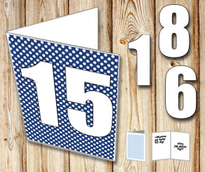 Dark blue card with white dots and numbers   | Free printable card