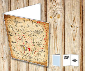 Cars with old treasure map  | Free printable card