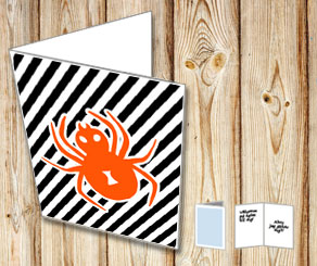Halloweenkort med orange spindel  | Gratis printables att skriva ut till Halloween