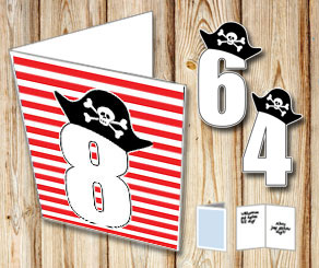 Red and white striped card with pirate numbers 1 - 9  | Free printable card