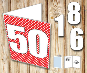 Red card with white dots and numbers   | Free printable card