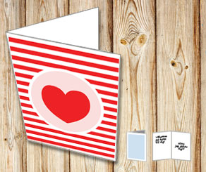 Red and white striped card with a heart  | Free printable for Valentines day