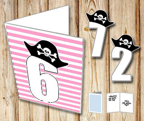Pink and white striped card with pirate numbers 1 - 9  | Free printable card