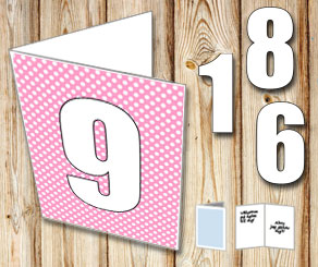 Pink card with white dots and numbers   | Free printable card