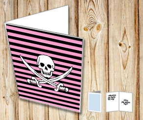 Pink and black striped card with a skull and sabers  | Free printable card