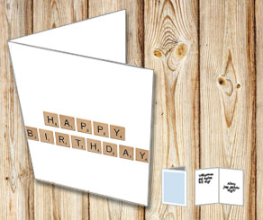 White cards with scrabble letters HAPPY BIRTHDAY  | Free printable card