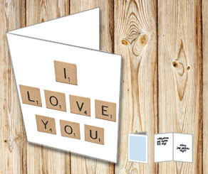 White cards with scrabble letters I LOVE YOU  | Free printable for Valentines day