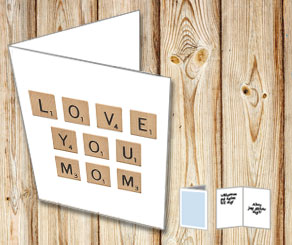 White cards with scrabble letters LOVE YOU MOM  | Free printable for Mothers day