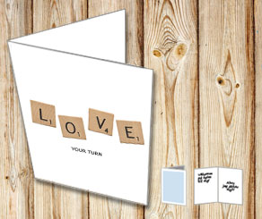 White cards with scrabble letters LOVE  | Free printable for Valentines day