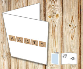White cards with scrabble letters PARTY  | Free printable card