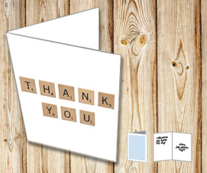 White cards with scrabble letters THANK YOU  | Free printable card