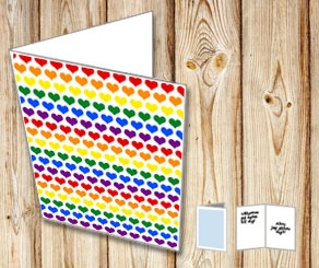 Card with colorful hearts  | Free printable for Valentines day