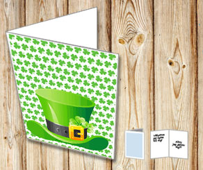 St Patricks Day card with a green hat  | Free printable for St Patricks day