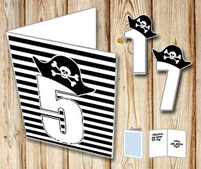 Black and white striped card with pirate numbers 1 - 9  | Free printable card