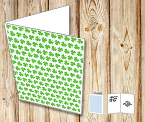 White card with green shamrock  | Free printable for St Patricks day