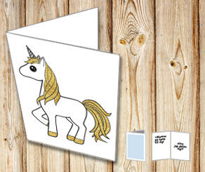White card with a unicorn 3  | Free printable card