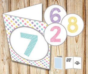 Dotted card with numbers  | Free printable card