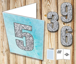 Blue card with watercolor and silver numbers  | Free printable card