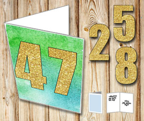 Green card with watercolor and gold numbers  | Free printable card