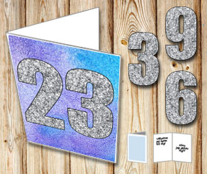 Blue purple card with watercolor and silver numbers  | Free printable card